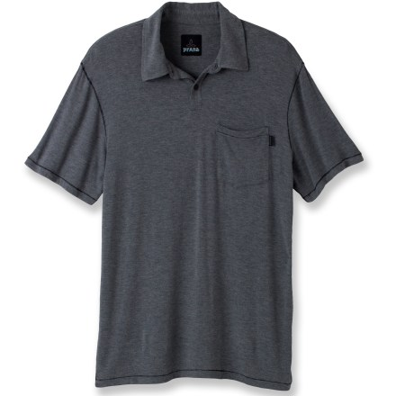 Entertainment This comfortable prAna Crosshatch polo shirt lets you stop for some spontaneous bouldering on your way home from work. Heathered rayon/spandex fabric is soft and stretchy for comfort during daily outings. Left chest pocket stows your keys or sunglasses. prAna Crosshatch polo shirt features a standard fit-skims the body with slight contour. Closeout. - $21.83