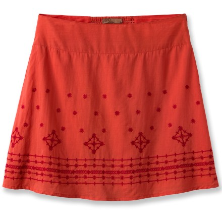This fully lined prAna Savvy skirt lets you twirl the night away in style. Soft, breathable cotton offers easy care. Embroidery adds an eye-catching pop of color. Closeout. - $28.83