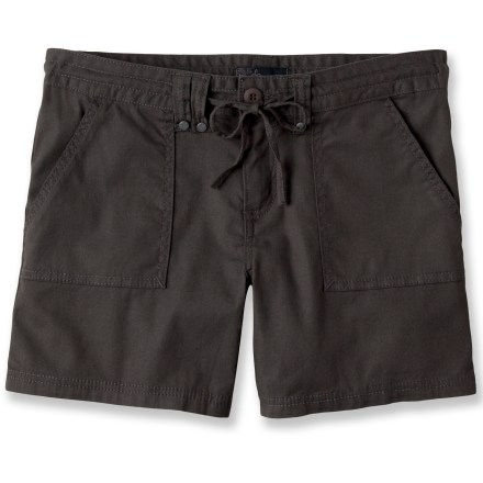 With soft organic cotton and a touch of stretchy spandex, the prAna Tess shorts are ready for active fun in the outdoors as well as laid-back fun indoors. Drawcord waistband; zipper fly and button closure. Sports front patch pockets and back flap pockets with button closures. Closeout. - $25.73