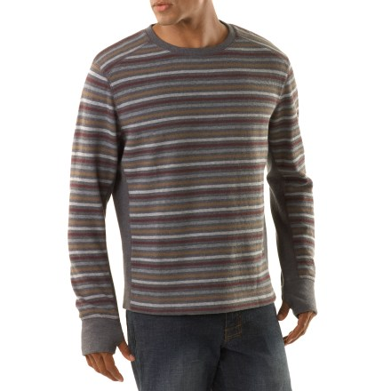 As the sun goes down on your day of bouldering, pull on the prAna Driftwood Crew sweater to stay warm and comfortable. Made from certified 100% organic cotton for breathable comfort and easy care. Organic cotton is grown without the use of toxic pesticides. Thumbholes secure sleeves over hands for warmth. Includes logo embroidery at the back yoke. prAna Driftwood Crew sweater has a standard fit. - $16.83