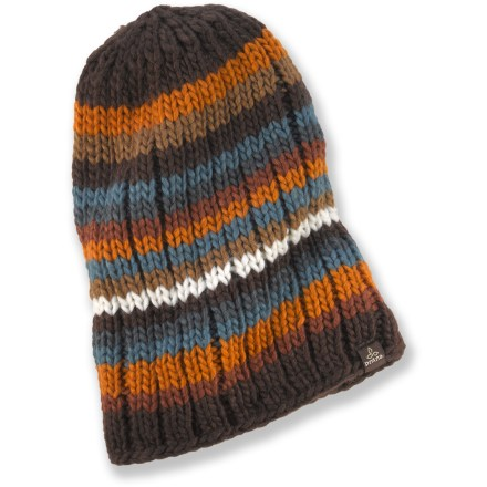 Entertainment The prAna Murphy beanie has a slouchy fit and colorful stripes to liven up your winter style. Thick organic cotton and wool yarns combine to offer great warmth. prAna Murphy beanie is soft and comfortable next to skin. - $13.83