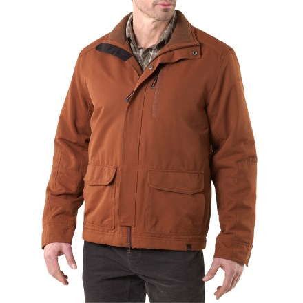The prAna Mesa jacket is designed for maximum wear-it-everyday utility with smart urban styling, moderate insulation, plenty of pockets and excellent stretch. Made from a durable, abrasion-resistant stretch nylon fabric with an all-weather finish; it has plenty of give and dries quickly. 60g polyester fiber insulation is lightweight and warm and continues to insulate when damp. 2x1 rib knit on interior collar. Forward sleeve panels are double reinforced for weather repellency and durability. prAna Mesa jacket has zip-close exterior chest pocket and interior mesh media pocket. Double-entry front pockets: open side entries; top entries have snap flaps. - $83.93