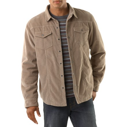 Get the best of both worlds with the prAna Gomez Shirt jacket. It has the comfort and warmth of a light jacket with the appearance of a stylish corduroy shirt. 16-wale corduroy exterior is lined with soft sherpa fleece through the body; nylon lining in the sleeves allows the shirt jacket to slide on easily over other layers. Insulation in the sleeves combines with the sherpa fleece in the body to keep you warm on chilly days. A touch of spandex gives the piece easy stretch for comfort. 2 snap-flap chest pockets hold your essentials. Includes snaps down the front. The prAna Gomez Shirt jacket has a standard fit. - $94.93