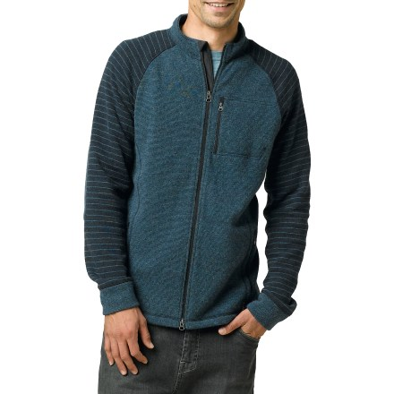 The prAna Rohan sweater offers great insulation and comfortable layering for cool-weather outings. Wool-blend exterior has a soft polyester backing for great warmth and comfort on cool days. Cuffs and collar are lined with polyester fleece for comfort next to skin. Zippered hand pockets and a zippered chest pocket secure essentials. Full-length front zipper allows easy on and off. Machine wash in cold water and lay flat to dry. The prAna Rohan sweater has a performance fit. - $93.93