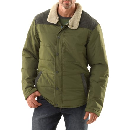 The Waylen jacket from prAna is puffy and warm, and keeps you not only feeling comfortable but looking sharp on even the coldest days. Durable polyester shell with contrast corduroy on the front and back yoke and at pocket welts. Synthetic microfiber insulation minimizes bulkiness, packs down well and stays warm even when wet. Durable Water Repellent finish causes water to bead up and roll off. Zip front with snap-close wind flap. Warm sherpa fleece lines the collar. prAna Waylen jacket has 2 hand pockets. Standard fit offers comfort and layers well; casual, contoured hem. - $107.93