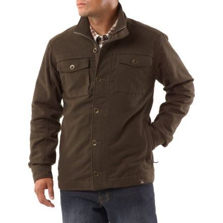 The prAna Lawton jacket blurs the line between an insulated shirt and a light casual jacket. This handsome jacket is perfect for chores on a chilly day or crisp evenings out and about. Made from soft, yet durable flannel moleskin fabric on the exterior and an interior plaid flannel. Full-length front zipper is hidden behind a button placket with herringbone trim tape and metal slot-button detail. Metal slot-button cuffs also feature herringbone trim tape. prAna Lawton jacket has zip-close hand pockets and chest pockets wiith slot-button flap closures. Standard fit skims the body with slight contours. - $78.83