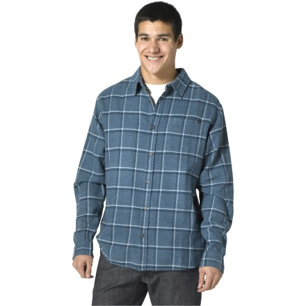 Looking for a warm, comfortable layer? Pull on the prAna Dutchman flannel shirt to stay warm on a chilly evening. Made from warm cotton for breathable comfort and easy care. Yarn-dyed plaid is finished nicely with metal buttons at the front placket and sleeve cuffs. Single chest pocket. Closeout. - $26.73