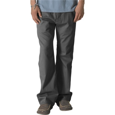 "Camp and Hike Sure, the prAna Bronson pants fall in the ""casual"" category, but you've been known to enjoy a casual hike or day at the crag, right? These rugged pants are up to the task. Cotton is naturally soft, breathable and comfortable. Abrasion-resistant, stretchy canvas withstands your everyday adventures. Gusseted crotch allows unrestricted range of motion. Standard 5-pocket design on prAna Bronson pants stows everyday essentials. Fixed waist accommodates a belt. Closeout. - $33.83"
