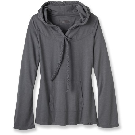 Settle in and snuggle up to the prAna Tanya top. It's a lightweight layer that still feels cozy thanks to soft jersey, long sleeves and a generous shawl collar. Lightweight jersey is a cotton blend that feels great next to skin; shawl collar is big enough to function as a hoodie and can be adjusted with drawcord. The prAna Tanya top features a kangaroo-style handwarmer pocket. - $55.00