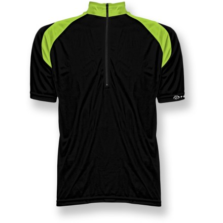 Fitness The Primal Wear Elemental Urban bike jersey has a simple design that lets you focus on your ride through the urban jungle. Speed-Pro(R) polyester fabric combines differently sized yarns to create a push/pull effect, forcing moisture away from body and pulling it to the surface to dry. 6 in. front zipper allows ventilation control. Zippered rear pocket holds your energy food and other essentials. Generous side panels and elasticized waist and sleeves create a comfortable fit. Droptail hemline gives complete coverage in back. Closeout. - $24.73