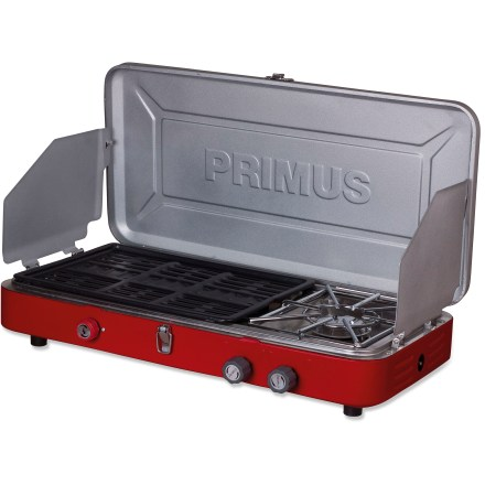 Camp and Hike The sleek and powerful Primus Profile Duo(TM) stove/grill combo with piezo ignition packs a punch without taking up a bunch of space on your camp table. - $97.93