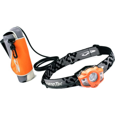 Camp and Hike Built to withstand bad weather and cold temperatures, the Princeton Tec Apex(TM) Extreme LED headlamp unleashes a bright beam to meet the needs of mountaineers, adventure racers and backpackers. Apex Extreme features a compact battery pack that houses 8 AA alkaline batteries (included) and can be clipped to your waist or backpack to minimize the weight on your head. In cold weather, put the battery pack in a pocket or wear it under clothing to increase the efficiency and run time of alkaline batteries. Intense 3-watt LED with optimized lens casts a powerful 200 lumens of output; beam illuminates objects up to 96m away. 3-watt LED combined with the Princeton Tec optimized lens/collimator maximizes the beam by balancing long throw with flood light. 4 standard 5mm LEDs surround the 3-watt LED for softer light with extended battery life. Select from 2 lighting levels on both the 3-watt and standard LEDs to meet your lighting needs; features a flashing emergency strobe. Power-regulated circuit board ensures consistent lighting levels even as battery power is reduced. Apex Extreme LED headlamp provides 2.5 hrs. of regulated light and 100 hrs. of total burn time with the 3-watt LED on high. Get up to 200 hrs. of burn time with the 5mm LEDS on low. Proprietary heat sink technology prevents light from getting too hot and damaging the LEDs. Princeton Tec Apex Extreme is designed to work with alkaline, lithium or rechargeable batteries. - $74.93