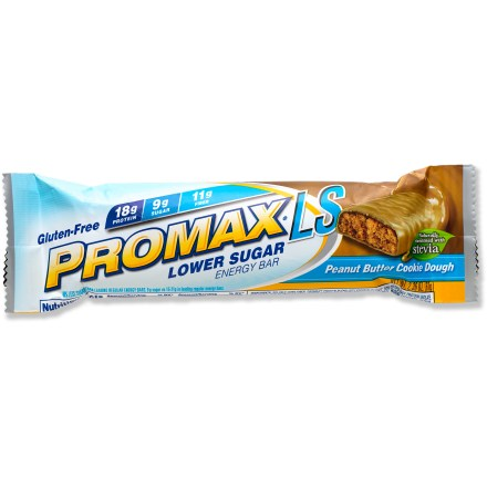 Camp and Hike Enjoy an all-natural Promax Low Sugar energy bar when you need a boost to get you through the day. Contains 14g of fiber and 18g of protein; provides 20% of the recommended daily value of vitamin A, B6, B12, C and E. All-natural bar is gluten free and certified kosher. Naturally sweetened with the herb stevia; each bar contains only 9g of sugar compared to 15 - 21g of sugar in many other energy bars. Includes 18 vitamins, minerals and antioxidants. Promax Low Sugar energy bar contains no preservatives, no high-fructose corn syrup and no trans fats. *Discount will be applied when you check out; offer not valid for sale-price items ending in $._3 or $._9. - $0.93