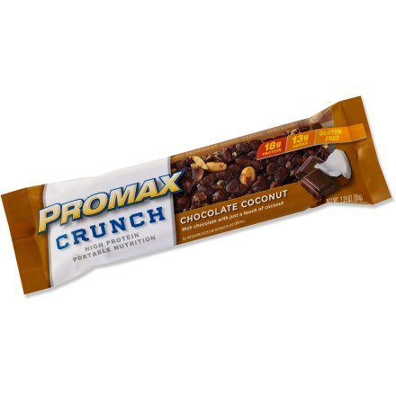 Camp and Hike The gluten-free Promax Crunch energy bar is packed with protein to power you through a tough workout. Its nutty, crunchy texture and touch of sweetness will keep you coming back for more. Each bar contains 18g of protein and only 13g of sugar; bars are naturally sweetened with stevia. Gluten free, vegetarian and kosher; Promax Crunch energy bar does not contain artificial sweeteners or flavors, high fructose corn syrup, maltitol or gelatin. *Discount will be applied when you check out; offer not valid for sale-price items ending in $._3 or $._9. - $0.93