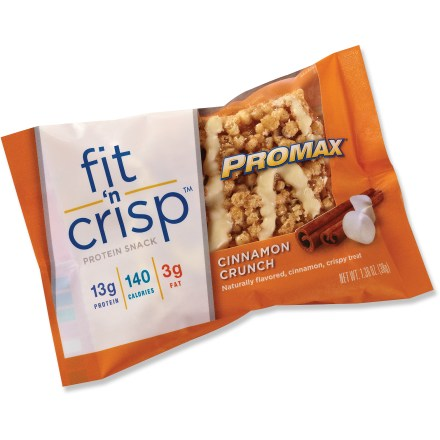 Camp and Hike Satisfy your sweet tooth while staying fueled up between meals with the Promax Fit 'N Crisp energy bar. Each gluten-free bar contains 13g of protein and only 140 calories. Bars have a light, crispy texture. Promax Fit 'N Crisp energy bars are vegetarian and peanut free; contain no artificial sweeteners or flavors, high fructose corn syrup, maltitol or gelatin. *Discount will be applied when you check out; offer not valid for sale-price items ending in $._3 or $._9. - $1.85