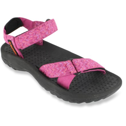 Entertainment The Rafters Cascade Weave women's sandals put some bounce in your step, whether you're tromping around town or kicking back on a float trip. Synthetic webbing uppers flex to match the profile of your feet; rip-and-stick straps adjust the fit. Textured EVA topsoles gently massage the soles of your feet. EVA midsoles absorb shock, cushion feet and provide gentle support. Rubber outsoles offer superior traction on wet surfaces. Special buy. - $16.73