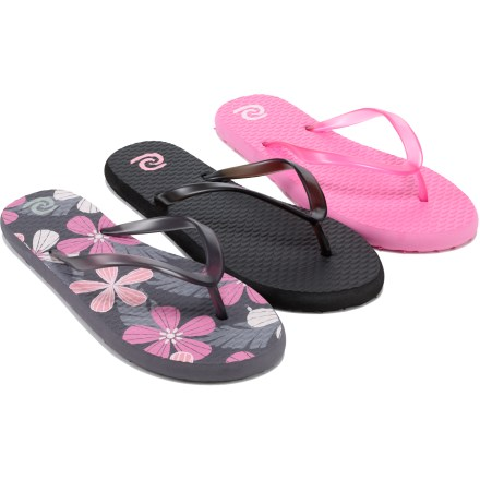 Entertainment For what's often the price of 1 pair, your surfer girl can get a package of 3 pairs (in the same size) of Rafters Waikiki flip-flops. Thin, contoured rubber straps wrap the instep for a secure fit. Textured EVA topsoles massage her feet as she walks. EVA outsoles provide traction on a variety of surfaces. Colors included are black, gray tropicana and azalea pink. Special buy. - $4.73