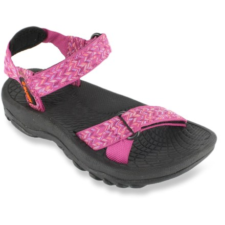 Entertainment The Rafters Cascade Weave sandals for girls are the perfect choice for romps through water. Synthetic webbing uppers flex to match the profile of your feet; rip-and-stick straps adjust the fit. EVA topsoles are soft against feet. EVA midsoles absorb shock, cushion feet and provide gentle support. Rubber outsoles offer superior traction on wet surfaces. Special buy. - $6.73