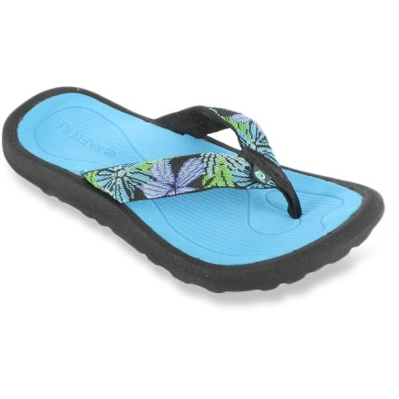 Entertainment Rafters Breeze Tropicana girls' flip-flops set her feet free to enjoy the water, whether she's in it, on it or around it. Sturdy synthetic straps gently wrap insteps for a secure fit. Thick, soft EVA topsoles/midsoles cushion feet and deliver arch support for all-day comfort. Rubber outsoles provide traction on a variety of surfaces. Special buy. - $10.73