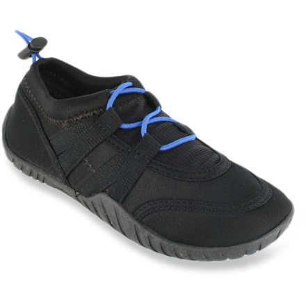 These boys' Rafters Cabo water shoes are ready to hit the beach, the pool or the puddles in between. Neoprene uppers feature mesh paneling and synthetic webbing for a supportive, breathable fit. Quick-pull laces let him easily snug down the fit. EVA footbeds feel soft against bare feet. Textured rubber outsoles supply traction on all types of surfaces. Special buy. - $8.43