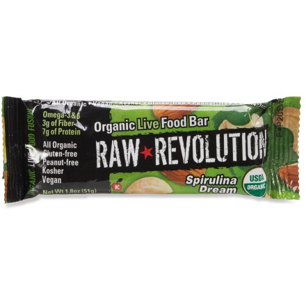 Camp and Hike Organic- and kosher-certified, RAW REVOLUTION Organic Raw Food bars provide hungry hikers with a healthy snack option. Raw, organic foods are closest to their natural state and are packed with nutrients; bars are a good source of fiber and protein. Bars are vegan and they do not contain gluten, wheat, corn, soy, trans fat, cholesterol or refined sugar. RAW REVOLUTION Organic Raw Food bars contain tree nuts. *Discount will be applied when you check out; offer not valid for sale-price items ending in $._3 or $._9. - $1.85