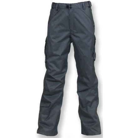 Ski The Rawik Deluxe Cargo pants keep you warm while enjoying snow-filled fun. Rugged nylon fabric features a waterproof, breathable coating and is treated with a Durable Water Repellent finish to repel moisture and stains. Polyester insulation provides lightweight warmth and continues to insulate when damp. Nylon lining easily slides over long underwear for layering. Zippered fly and snap closure make getting pants on and off easy; elastic waist with rip-and-stick tabs secures the fit. 2 zippered front pockets and 2 cargo pockets keep your small items secure. Internal snow gaiters with gripper elastic fit snugly around boots. Special buy. - $79.93
