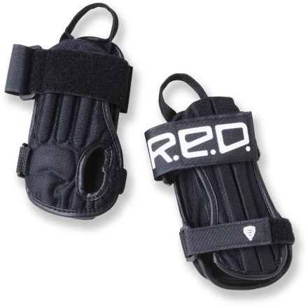 Snowboard In snowboarding, hard spills are unavoidable but you'll decrease the likelihood of wrist and forearm injuries by wearing Impact Wrist guards from R.E.D. These are made just for kids. - $14.83