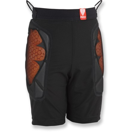Snowboard R.E.D. Base Layer Shorts for kids are comfortable boxer shorts with hip and tailbone padding, and are made from moisture-wicking mesh material. - $33.83