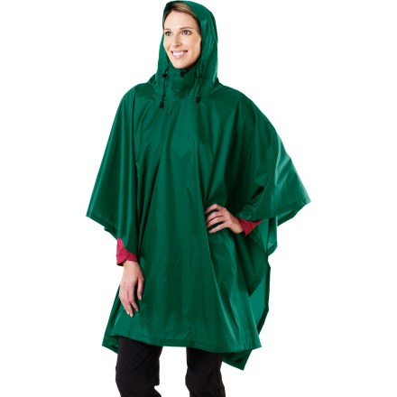 The Storm poncho from Red Ledge protects you from sudden downpours. Nylon taffeta fabric features a waterproof polyurethane coating and is fully seam taped. Hood features an adjustable visor and drawcords for a secure fit. Extension flaps at back provide additonal material to cover pack. Stuff pack for easy storage. Poncho measures 80 x 52 in. The Storm poncho from Red Ledge features nylon loops at corners to tie down poncho. Special buy. - $17.83
