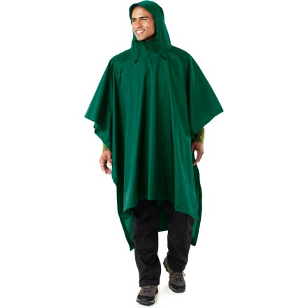 The Storm Backpacker poncho from Red Ledge offers quick coverage during sudden downpours. Nylon taffeta fabric features a waterproof polyurethane coating and is fully seam taped. Hood features an adjustable visor and drawcords for a secure fit. Extension flaps at back provide additional material to cover pack. Stuff pack for easy storage. Poncho measures 92 x 52 in. The Storm Backpacker poncho from Red Ledge features nylon loops at corners to tie down poncho. Special buy. - $16.73