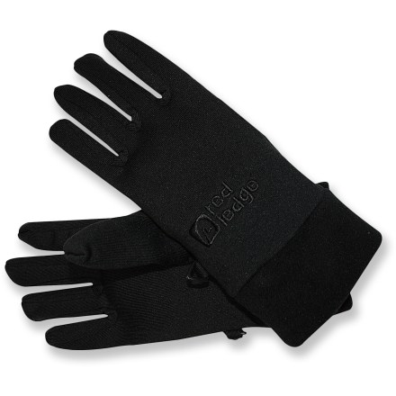 Ski Perfect for fall and winter adventures, the Red Ledge glove liners can be worn alone in dry, cool weather, or layered under other gloves when you need a boost of warmth. Soft, smooth-face polyester fleece resists pilling. Fleece cuffs are gentle on your wrists. Microfiber reinforcement between thumb and index finger boosts durability. Easy-to-grasp tabs at the cuffs offer easy on and off. Special buy. - $6.83