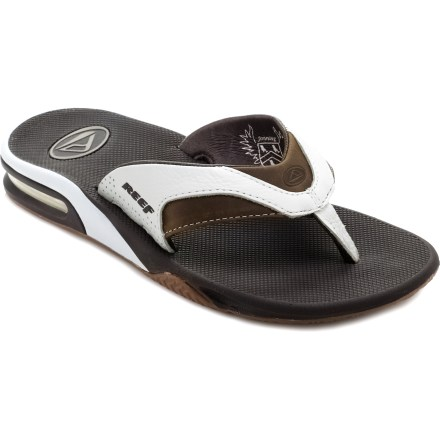 Surf Smooth-wearing leather flip-flops have an integrated bottle opener in the outsole to ensure you're never stuck with an unopened cold beverage. - $28.83