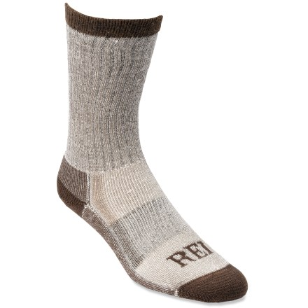 Camp and Hike With naturally wicking fibers, REI merino wool hiking crew socks are a comfortable choice for the trail. - $15.95