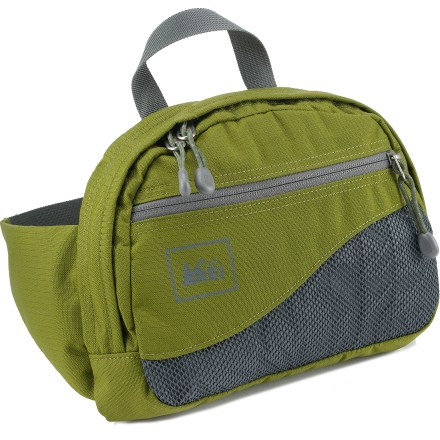 Ski Wear the slim and versatile REI Lode waistpack to carry your essentials. It's great for travel, light day hikes, biking and even on the ski lifts. Largely made from 100% recycled PET polyester fabric, each pack keeps 5 16-oz. plastic bottles out of landfills! Post-consumer recycled PET polyester is tough enough to endure the daily grind. Main compartment features an organizer with pen slots, phone/wallet pocket, key clip and a zippered mesh pocket. Zippered front panel pocket and waistbelt wing pocket secure small, frequently accessed items such as lip balm, pocket knife and spare change. Webbing waistbelt stows away behind back panel when using the carry handle. Fits waist/hips from 22 - 48 in. - $16.93