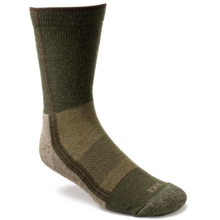 Camp and Hike The men's REI Hybrid Light Hiking crew socks feature PrimaLoft(R) fibers blended with nylon and merino wool to provide comfort and performance, whether out hiking or on everyday jaunts. Nylon, PrimaLoft(R) polyester fibers and merino wool are blended together to supply excellent thermal regulation, moisture management and breathability. The versatile fabric blend makes these socks comfortable year-round, whether you're venturing out for a day on the trail or roaming around town. Light cushioning underfoot provides comfort without excess bulk. Heels and toes are reinforced to stand up to the rigors of everyday use. REI Hybrid Light Hiking socks offer a snug, supportive fit that retains its shape wash after wash. *Discount will be applied when you check out. Offer not valid for sale-price items ending in $._3 or $._9. - $8.93