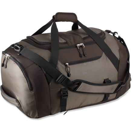 Camp and Hike Whether your plans are spontaneous or thoughtfully planned out, this cargo duffel bag will meet your organizational needs, weekend or weekday. Large, U-shape zipper provides easy access to main compartment. Two roomy end pockets: one padded, water-resistant pocket designed for dirty shoes and one with a floating liner for dirty laundry. Three exterior zippered pockets and top zippered pocket with travel organizer and key fob provide plenty of additional storage options. Side carry straps with buckles secure yoga mat or jacket. Sling over your shoulder with the padded, fully adjustable and removable shoulder strap or grab the two padded end handles. Bottom of bag features handy zip-away backpack straps for longer-duration carrying capabilities. - $70.93