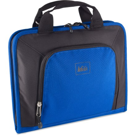 Entertainment Our TSA checkpoint-friendly X Small REI Tech Wrap computer sleeve fits netbooks, tablets like the Apple(R) iPad(R) and portable media readers and features plenty of organizational options. Partially made from 100% recycled PET polyester fabric, each sleeve keeps ten 16 oz. plastic bottles out of landfills. Checkpoint-friendly design meets TSA screening requirements for not having to remove laptop from sleeve, reducing the hassle of airport security checkpoints. Book-style design zips open and lays flat with computer on one side and pockets on other; X Small size fits a netbook or portable media reader with up a 10 in. screen. Zippered neoprene sleeve provides protection for your computer; vertical and horizontal access accommodates use of a variety of carry bags. Internal letter-size document pocket keeps papers organized; zippered, divided pocket helps keep small items separated and easy to find. External zippered front pocket features an organizer panel and enough space for small peripherals or cords. Haul handles on top let you tote sleeve with ease; attachment points allow use of shoulder strap (sold separately). - $18.93