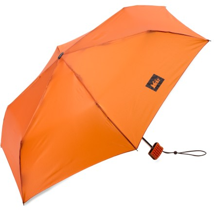Entertainment Light and packable, this REI Flyweight siliconized-nylon umbrella cuts weight but not coverage, keeping you dry and comfortable during a downpour. Small enough to fit in a jacket pocket when packed, the siliconized nylon canopy provides 40 in. arc of coverage without a lot of weight when open. Fiberglass rib construction increases the durability and lifespan of the umbrella. Steel shaft and fiberglass ribs are light and strong; 3-section manual open. Translucent plastic handle with soft rubber touch-points creates a secure grip and comfortable feel. Includes an umbrella sleeve/carrying case and an accessory carabiner. - $17.83
