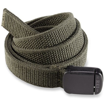 The REI Stretch belt has enough give to keep you comfortable and secure. Plastic buckle holds belt at desired length. Belt measures 45 in. long, not including stretch. - $12.93