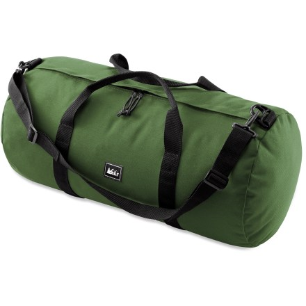Camp and Hike Simple yet tough, our medium REI Classic duffel bag offers 2,700 cu. in. of space and a convenient storage pouch for heavy-duty gear hauling. Urethane-coated 1,000-denier nylon is highly water resistant and very tough; dual zippers facilitate easy access into main compartment. Wrap-around 2 in. nylon webbing handles support the load. Tote duffel bag comfortably with the adjustable shoulder strap, included. Convenient storage sack doubles as a toiletry bag. - $19.93