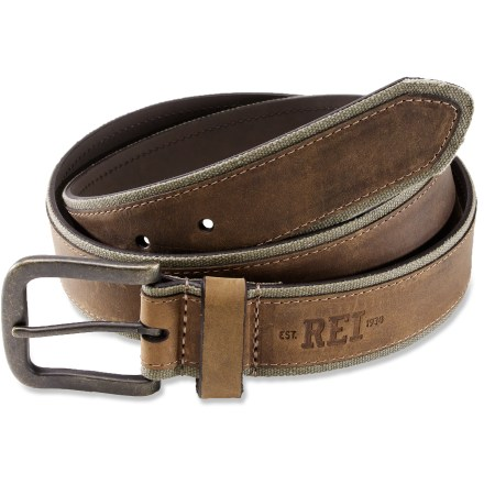 Complement your outdoorsy style with the REI Canvas Leather belt. - $7.83
