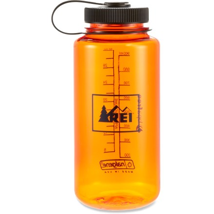 Camp and Hike Guaranteed leakproof, this REI wide-mouth 32 oz. water bottle in fun transparent colors is a must-have for camping or campus! Made of Eastman Tritan(TM) copolyester, the bottle is completely BPA-free and is dishwasher safe (top rack only). Tritan(TM) copolyester provides excellent impact resistance and is suitable for both warm and cold beverages. Wide mouth makes it easy to fill without spilling. Convenient loop-top design means you'll never lose the lid. - $10.50