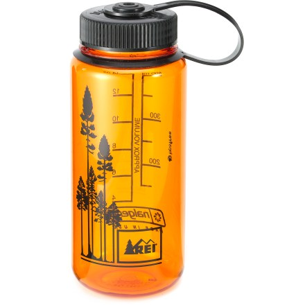 Camp and Hike Guaranteed leakproof, this REI wide-mouth 16 oz. water bottle in fun transparent colors is a must-have for camping or campus! Made of Eastman Tritan(TM) copolyester, the bottle is completely BPA-free and is dishwasher safe (top rack only). Tritan copolyester provides excellent impact resistance and is suitable for both warm and cold beverages. Wide-mouth design is easy to fill, and the loop-top means you're less likely to lose the lid. Opening on the 16-oz. bottle is slightly smaller than typical wide-mouth openings and will not fit with some popular water filters. . - $8.95