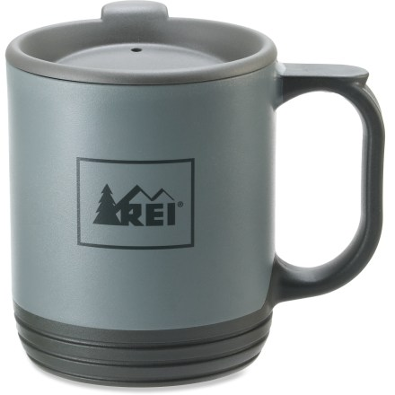 "Camp and Hike The REI Recycled Camp mug lets you enjoy your favorite beverage while lounging by the tent. Not only can this mug be recycled at the end of its useful life, it's also made from 100% recycled polypropylene, thereby ""closing the loop"". 25% of the material is post-consumer content. Drink-through lid makes it easy to travel with a beverage. - $4.93"