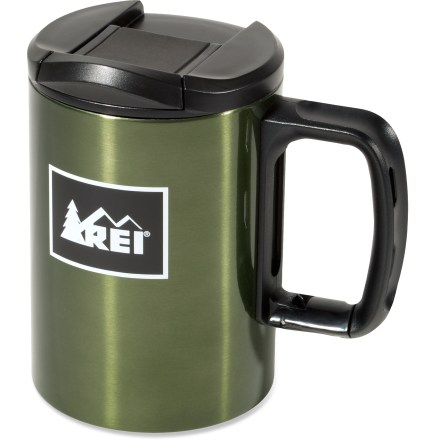 Camp and Hike Clip this mug on your backpack and you're ready for an outdoor adventure accompanied by your favorite tasty beverage. Double-wall, stainless-steel mug keeps 16 fl. oz. of liquid hot or cold. Splash-proof lid is easy to sip through while on the go; lid screws into place, ensuring it won't pop off. Spring-loaded gate allows you to easily clip the mug to any strap on your backpack. Non-skid pad on the bottom keeps the mug from sliding away. Stainless-steel body and liner cleans up easily. - $12.93
