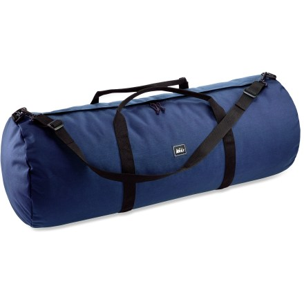 Camp and Hike Big and burly, our X Large REI Classic duffel bag doles out more than 5,500 cu. in. of gear-swallowing space and tucks away in a convenient, compact storage pouch when not in use. Urethane-coated 1,000-denier nylon is highly water resistant and very tough; dual zippers facilitate easy access into main compartment. Wrap-around 2 in. nylon webbing handles support the load. Tote duffel bag comfortably with the adjustable shoulder strap, included. Convenient storage sack doubles as a toiletry bag. - $25.93