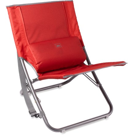 Camp and Hike This portable chair sits low to the ground, giving you a comfortable way to kick back and relax at an outdoor concert, sandy beach or campsite. - $19.93