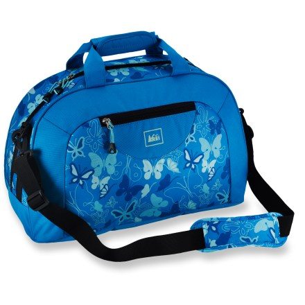 Camp and Hike The girls' REI Overnighter Duffel bag goes just about anywhere and carries just enough stuff for a slumber party, backyard campout or a quick weekend with extended family. Access to contents is achieved through single zipper across the top, keeping things simple and easy. Zippered pocket on side is great for stashing and organizing small items and toiletries. Multiple carry options include a detachable, adjustable shoulder strap with sliding pad, padded haul handles and zip-away backpack-style shoulder straps for hands-free use. The REI Overnighter duffel is sized to fit into most airline overhead bins (we recommend double-checking with the airline first). - $21.93