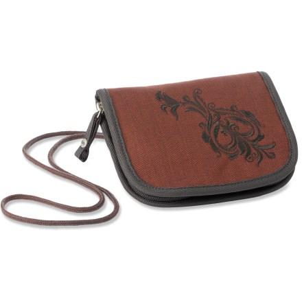 Entertainment With fun, stylish flourishes and smart construction, our REI Hailey wallet is slim and organized, carrying your daily essentials without getting in the way or weighing you down. Made from 100% recycled PET; each wallet keeps four 16-oz. plastic bottles out of landfills and is tough enough to withstand the rigors of urban use. Clamshell zipper opens up wide to allow easy access to the multiple pockets inside; side gussets prevent contents from spilling out and offer added security. Padded pocket safely stows a cell phone, PDA or media player. Interior zip mesh pocket, multiple card slots and organization for currency and coins help keep things sorted; sewn-in clip secures keys. Lightweight, sturdy cord shoulder strap provides simple, no-fuss carrying. - $13.93