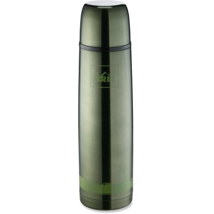 Camp and Hike The 1-liter REI Bullet vacuum bottle bottle keeps your favorite beverage hot or cold for hours. Unbreakable stainless steel stands up to daily use. 1-liter size lets you bring enough to share with a friend and still carry it in a briefcase or backpack; measures 3.1 x 12 in. Hand wash only. - $24.50